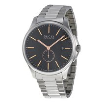Gucci Timeless Black Dial Stainless Steel Mens Watch YA126312