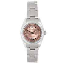 Rolex Stainless Steel Pink Maxi Dial Ladies Watch 176200