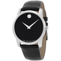 Movado Museum Black Dial Leather Strap Men's Watch 0606502
