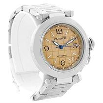 Cartier Pasha C Steel Salmon Grid Dial Watch W31023m7