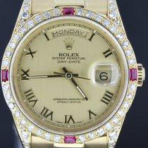 Rolex Day-Date Yellow Gold 36MM Roman Dial, Diamond Bezel