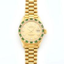 Rolex Yellow Gold Datejust Diamond & Emerald Watch