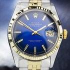 Rolex Oyster Datejust, 14K & SS, Blue Dial