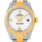 Rolex Datejust Steel 18k Yellow Gold Onyx Diamond Dial Watch...