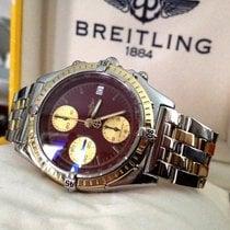 Breitling Chronomat Pilotband Gold Steel Oxblood Dial 39 mm