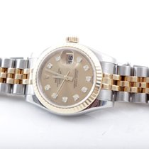 Rolex Ladies 179173 Datejust - Factory Champagne Diamond Dial