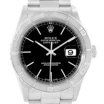 Rolex Datejust Turnograph Steel 18k White Gold Black Dial...