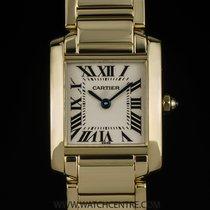 Cartier 18k Y/G Cream Dial Ladies Tank Francaise B&P W50002N2