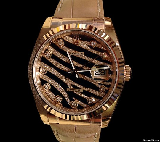 Rolex Datejust 36mm Zebra 18k Rose Gold Diamonds Ltd Edition