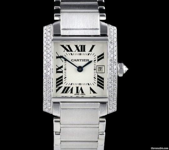 Cartier Tank Francaise 18k White Gold Diamond Ladies