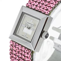 Swarovski Quarz Stahl an Lederband mit rosa Steinen