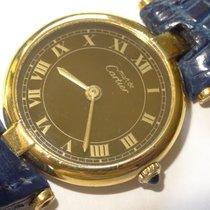 Cartier Vendome 24mm 18K Vermeil Quartz Watch Black Roman Dial...
