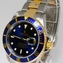 Rolex Submariner 18k Gold & Steel 40mm Automatic Blue Dial...