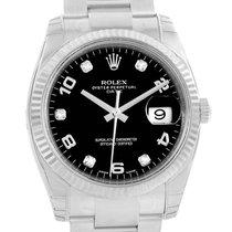Rolex Date Mens Steel 18k White Gold Diamond Watch 115234 Unworn