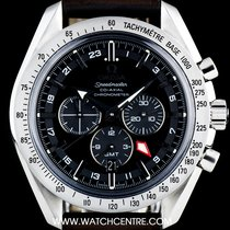 Omega S/S Black Dial Broad Arrow GMT Chronograph 3881.50.37