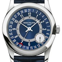 Patek Philippe 6000G-012 Calatrava 37mm Blue Sunburst Arabic...