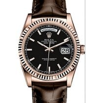 Rolex Day-Date 36 118135-BSBRL Black Index Brown Leather...
