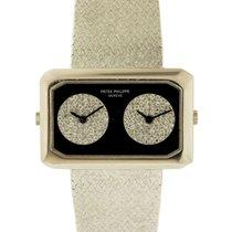 Patek Philippe 18k White Gold, Onyx &Diamond set Dual Time...