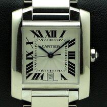 Cartier Tank Francaise GM 18 kt white gold, full set