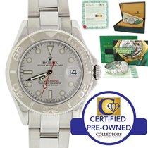 Rolex Yachtmaster Mid Size 168622 Platinum Steel 35mm Watch w/Box