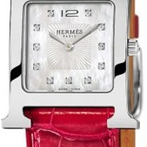 Hermès H Hour White Mother Of Pearl Dial Ladies Leather Watch
