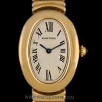 Cartier 18k Yellow Gold Silver Dial Baignoire Ladies Wristwatch