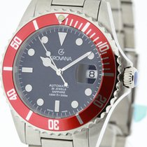 Grovana Swiss Made Automatic Diver Watch Red Bezel NEW 2Y Full...