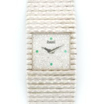 Piaget Vintage White Gold Emperador Diamond Emerald Watch