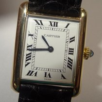 Cartier 18K Solid Gold Tank Watch w/ Paper White Roman Dial