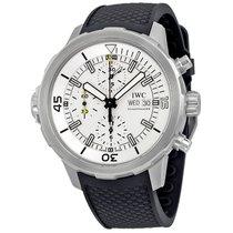 IWC Aquatimer Chronograph Silver Dial Black Rubber Mens Watch...