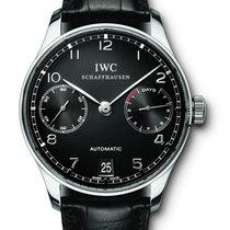 IWC [NEW] Portuguese Automatic Steel Black Mens Watch IW500109