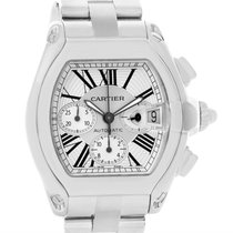 Cartier Roadster Chronograph Silver Dial Mens Watch W62019x6 Box
