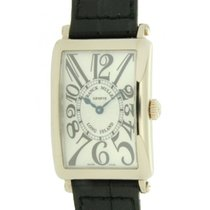 Franck Muller Long Island 950 Qz In Oro Bianco E Pelle, 25x34mm