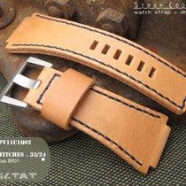 Bell & Ross LV Beige Calfskin BR01 Watch Strap, Blue Stitch