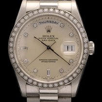 Rolex Day Date Platinum ref 18346 Factory Diamond Bezel and Dial