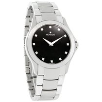 Movado Military Mens Diamond Black Dial Swiss Quartz Watch...