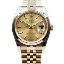 Rolex Datejust 116208 Men's 36mm Champagne Index Domed 18k...