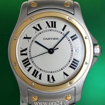Cartier Santos Ronde Automatic Date 18k Gold Steel Box&Papers