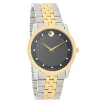 Movado Museum Mens Crystal Black Dial Two Tone Quartz Watch...