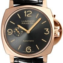 Panerai Luminor Due 3Days Oro Rosso 45mm Black Leather Watch...