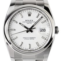 Rolex Date 34mm Stainless Steel White/Index Oyster 115200