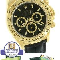 Rolex Daytona Zenith Cosmograph 16518 Black 18K Yellow Gold...