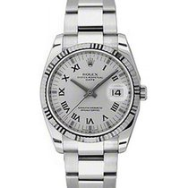 Rolex Oyster Perpetual 115234-SLVRFO 34mm Silver Roman Fluted...