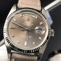 Rolex Day-Date 18039 Solid W Gold Factory Brown Diamonds Dial