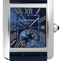 Cartier Tank MC 44MM Flinqué Dial Leather Automatic Blue Men...