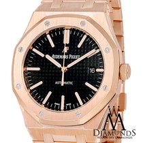 Audemars Piguet Royal Oak 18k Rose Gold Watch Ref. 15202 Black...