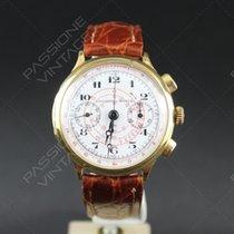 Universal Genève Chronograph porcelain dial 18 kt