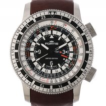 Fortis B-47 Calculator GMT 3 Time Zones Stahl Automatik 47mm