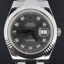Rolex Datejust II Steel 41MM,Grey Rhodium  Diamond Dial, Full Set