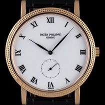 Patek Philippe 18k Rose Gold White Porcelain Dial Calatrava 3919R
